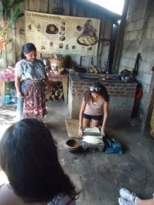 Clara Betley learning how to make traditional Guatemalan foods.