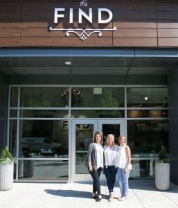Melani Wilson, Roya Kelly, and Libby Ash in front of their new boutique, The Find (photo by Beth Behrendt)