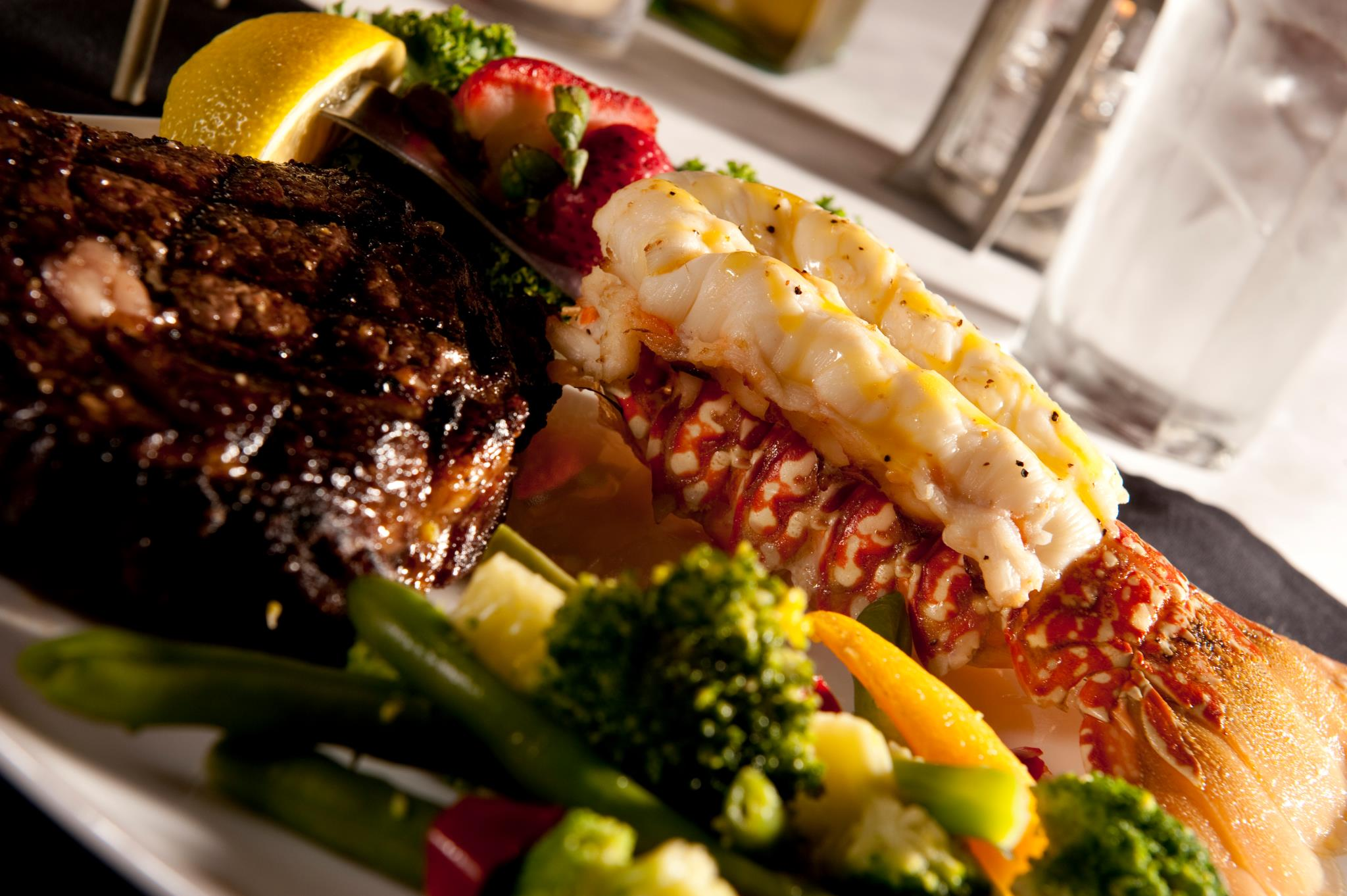 Trolley Bar Steaks and Seafood Fort Wayne Surf and Turf meal